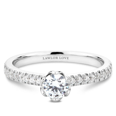 Solitaire Pave Floral Engagement Ring