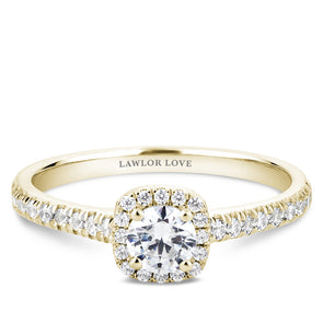 Round Diamond with Square Halo Engagement Ring