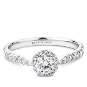 Round Diamond Halo Engagement Ring With Floral Accents