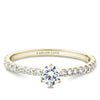Six Claw Solitaire Pave Engagement Ring