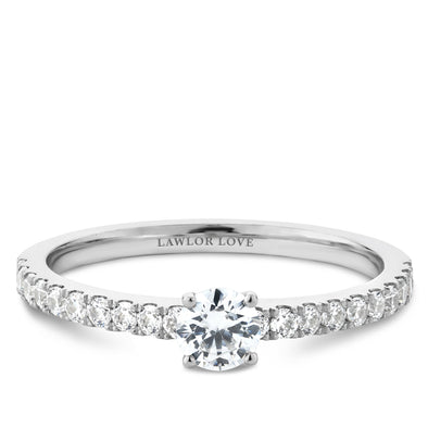 Solitaire Pave Engagement Ring