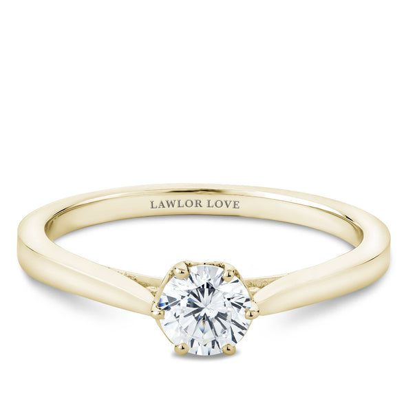 Six Claw Decorative Solitaire Engagement Ring