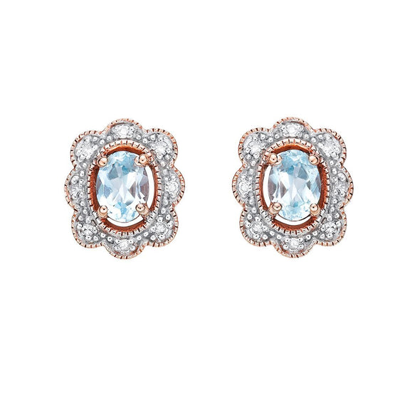 Blue Topaz Vintage Halo Stud Earrings