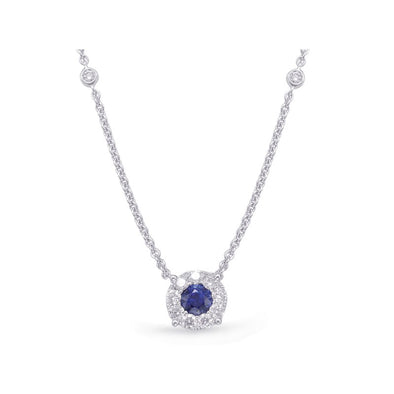Halo Blue Sapphire and Diamond Necklace