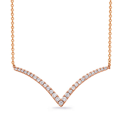 Open Style V Neckalce in Rose Gold