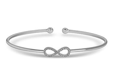 Pave Infinity Bangle Bracelet In White Gold