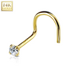 14KT Solid Gold Nose Screw Stud