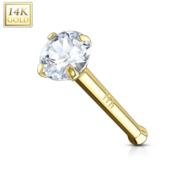 14KT Solid Gold Ball End Nose Stud