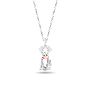 Dog Pendant with Diamonds Arms and Rose Tone Collar