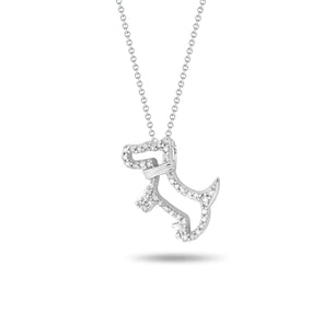 Dog Pendant with Diamond Outline