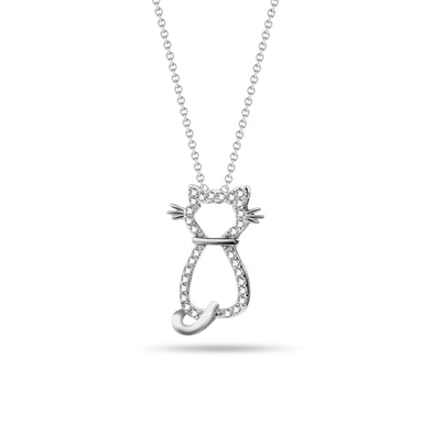 Cat Shaped Diamond Pendant