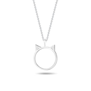 Cat Ear Circular Diamond Pendant