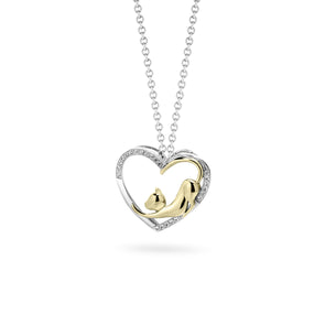 Cat Stretching Heart Diamond Pendant