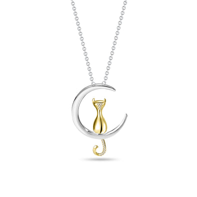 Cat & Half Moon Diamond Pendant