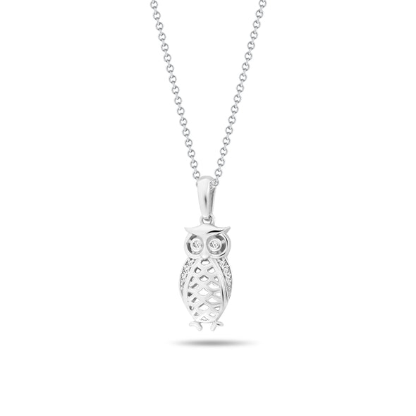 Owl & Diamond Pendant