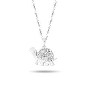 Turtle & Diamond Pendant