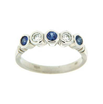 Bezel Set Sapphire And Diamond Ring