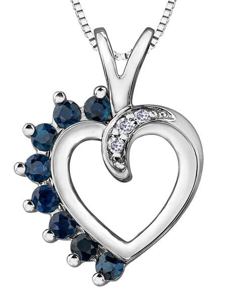 Sapphire and Diamond Heart Pendant