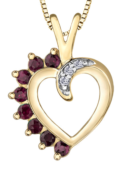 Ruby and Diamond Heart Pendant