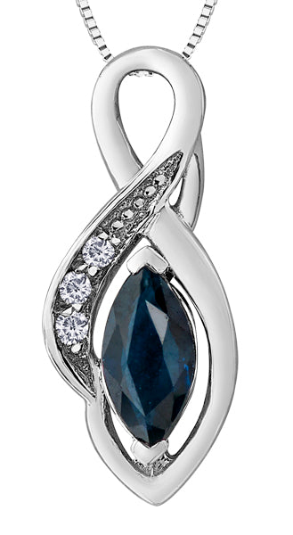 Blue Sapphire Marquise Pendant