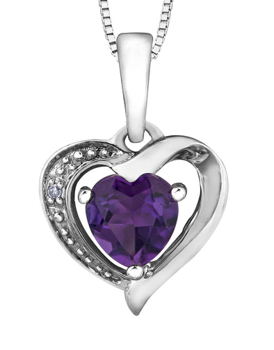 Amethyst and Diamond Heart Pendant