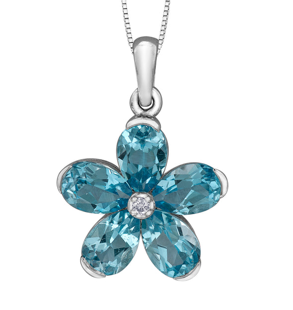 Blue Topaz Flower Pendant