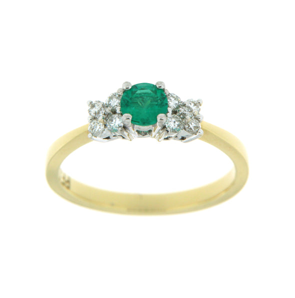 Classic Yellow And White Gold Emerald And Diamond Ring
