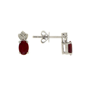 Crown White Gold And Ruby Diamond Earrings