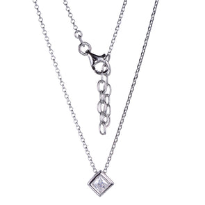 Princess Bezel Solitaire Necklace