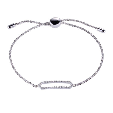 Adjustable Silver sliding CZ Bracelet