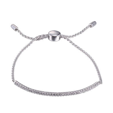 Adjustable Silver sliding CZ Bar Bracelet