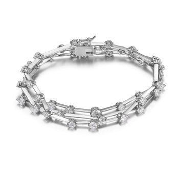 Rhodium-Plated Sterling Silver & Crystal Multi-Strand Bracelet