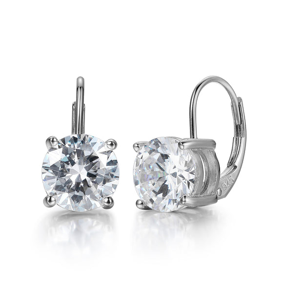 Round CZ Leverback Earrings