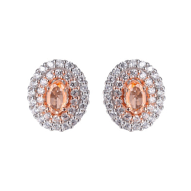 Morganite Double Halo Earring