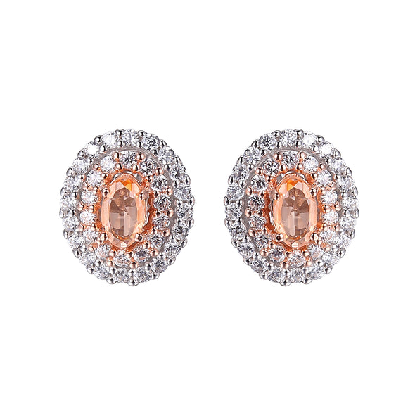 CZ and Morganite Double Halo