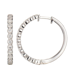 CZ Hoop Earrings with Millgrain Accent