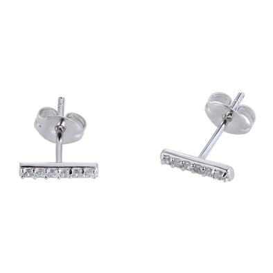 Sterling Silver CZ Bar Earrings