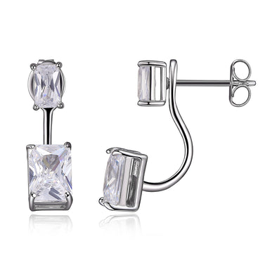 Solitaire Radiant Jacketed CZ Earrings