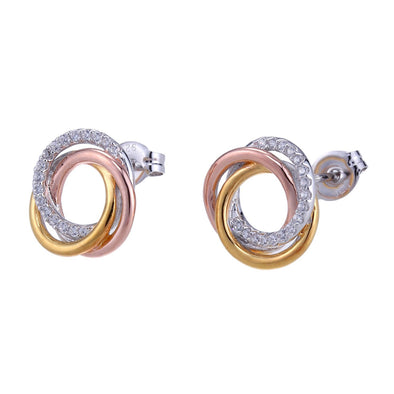 Tri Tone Stud Earrings
