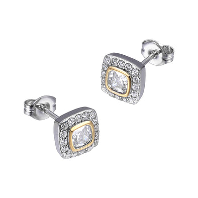 White Halo Yellow Bezel Set Cushion Cz Earrings