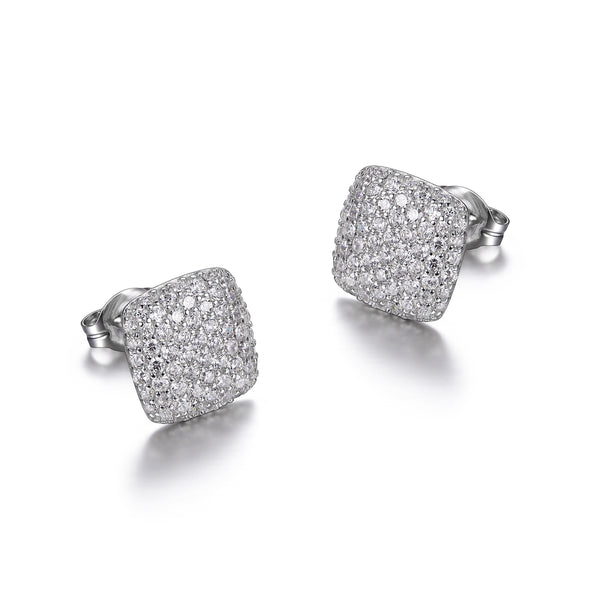 Cushion Shaped Pave Earrings