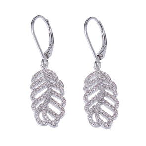 Leaf Earring CZ and Sterling Silver