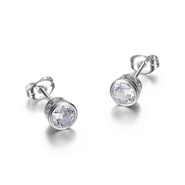 Fancy Bezel Set CZ Round Studs