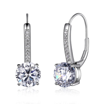 Micropave Round CZ Leverback Earring