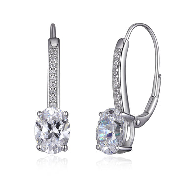 Micropave Oval CZ Leverback Earring