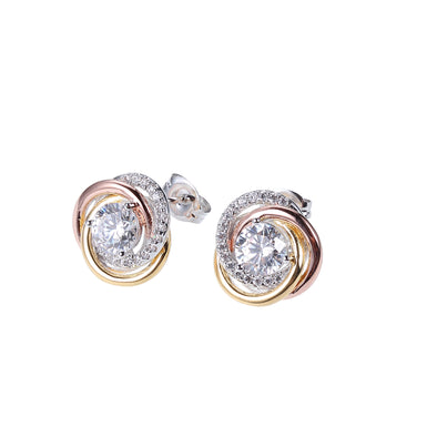 Tri Tone Solitaire Stud Earrings