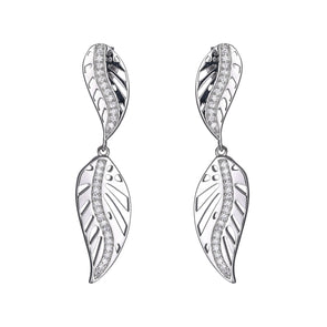 Double Leaf Earring CZ and Sterling Silver