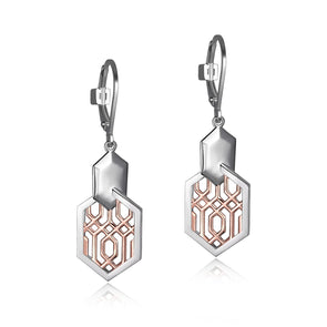 Vertical Oblong Hexagonal Earrings