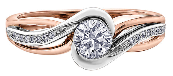 Bypass Two Tone Diamond Ring