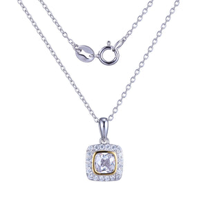 White Halo Yellow Bezel Set Cushion Cz Pendant